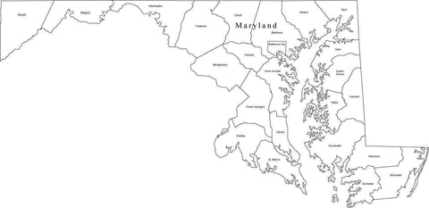 Black & White Maryland Map with Counties