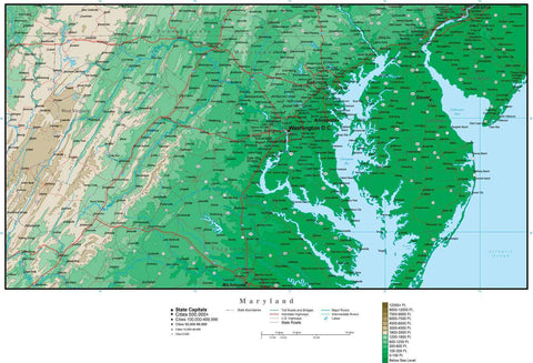 Maryland Map with Contour Background