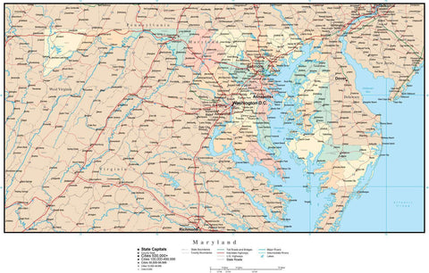 Maryland Map with Counties, Cities, County Seats, Major Roads, Rivers and Lakes