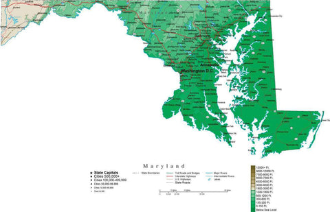 Maryland Map  with Contour Background - Cut Out Style