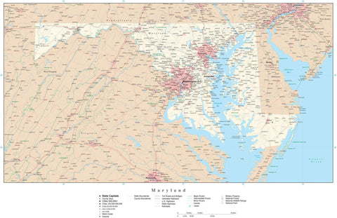 Poster Size Maryland Map with County Boundaries, Cities, Highways, National Parks, and more