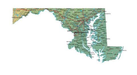 Digital Maryland map in Fit Together style with Terrain MD-USA-852113