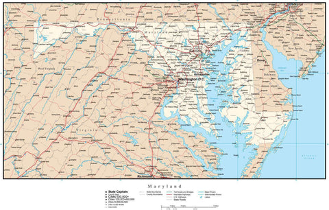Maryland Map with Capital, County Boundaries, Cities, Roads, and Water Features