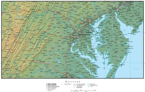 Digital Maryland Terrain map in Adobe Illustrator vector format with Terrain MD-USA-942225