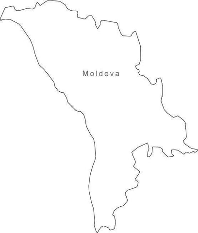 Digital Black & White Moldova map in Adobe Illustrator EPS vector format