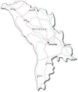 Moldova Black & White Map with Capital, Major Cities, Roads, and Water Features