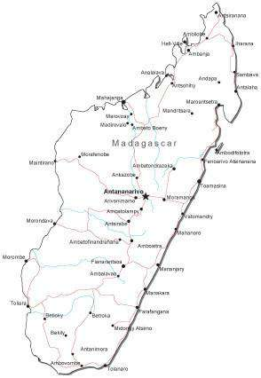Madagascar Black & White Map with Capital, Major Cities, Roads, and Water Features