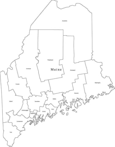 Black & White Maine Map with Counties