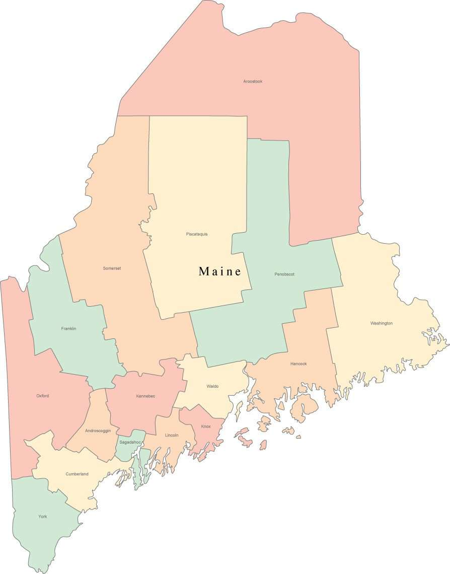 Digital ME Map with Counties & County Names - Multi-Color on saco maine, waterville maine, york maine, calais maine, old orchard beach maine, lewiston maine, fort kent maine, google maps maine, moosehead lake maine, madawaska maine, cities in maine, chelsea maine, old town maine, blue hill maine, skowhegan maine, caribou maine, detailed map maine, lowell maine, ellsworth maine, airports in maine,