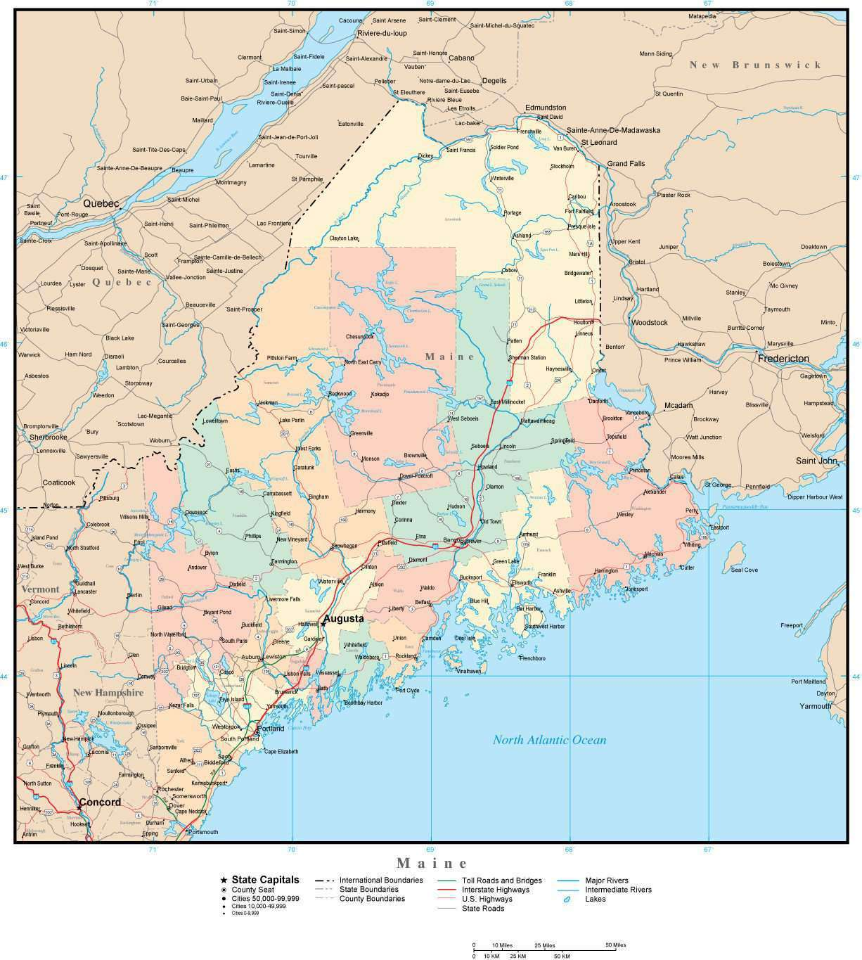 Maine Map with Counties, Cities, County Seats, Major Roads, Rivers and Lakes