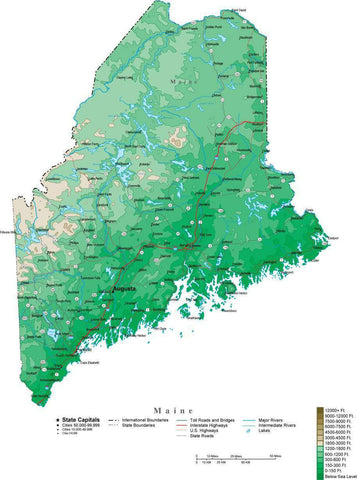 Maine Map  with Contour Background - Cut Out Style