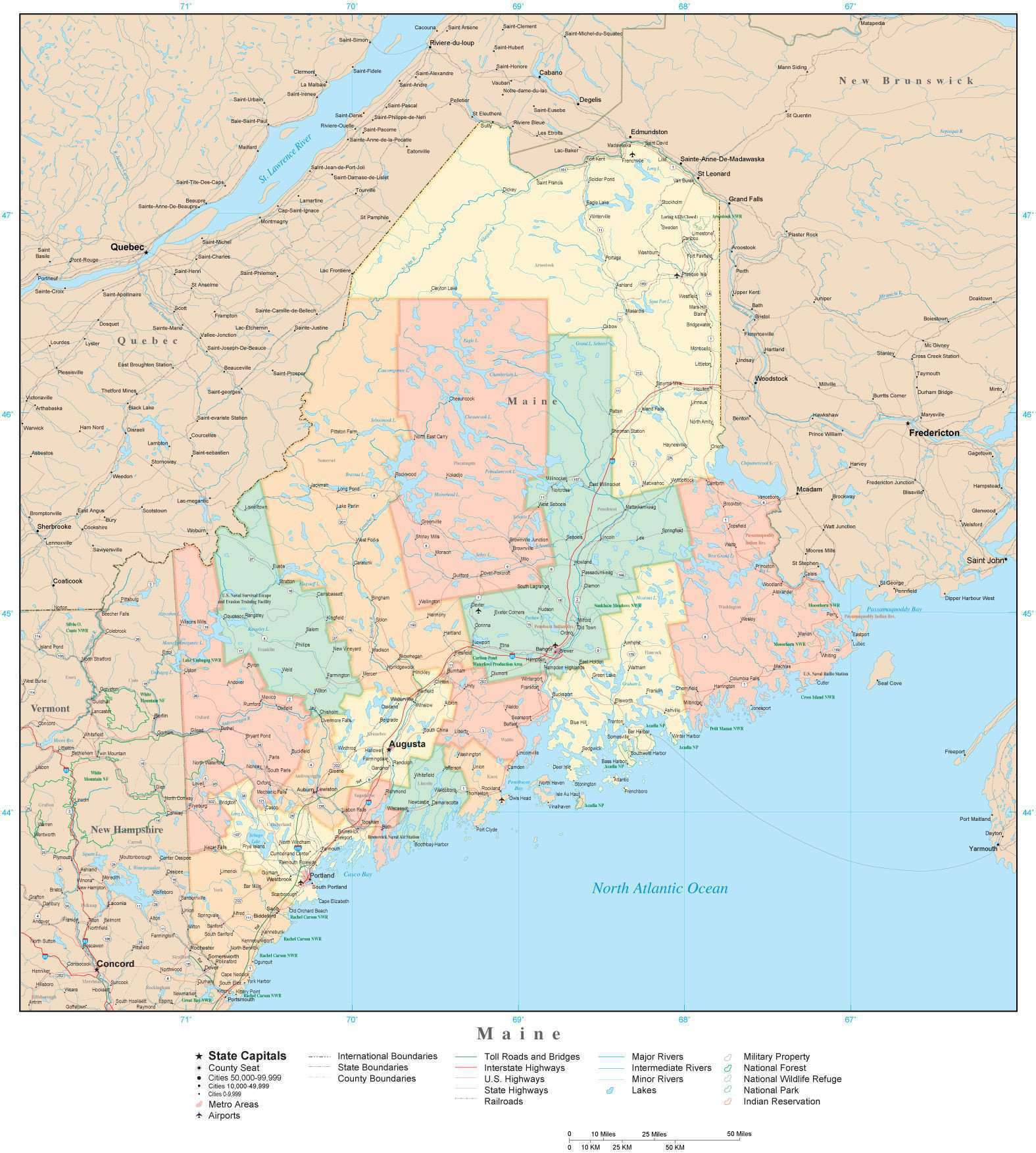 Detailed Maine Digital Map with Counties, Cities, Highways, Railroads,  Airports, National Parks and more