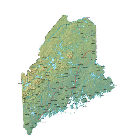 Digital Maine map in Fit Together style with Terrain ME-USA-852100
