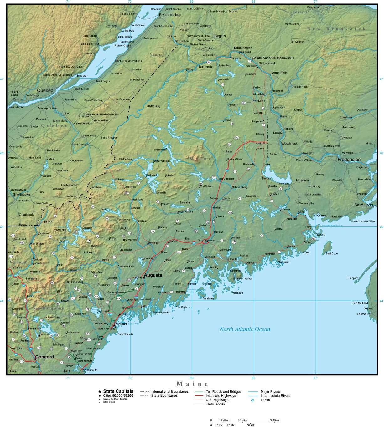 Maine State Map Plus Terrain with Cities & Roads – Map Resources