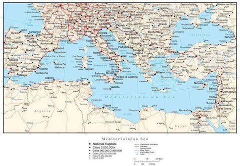 Mediterranean Map with Country Boundaries, Capitals, Cities, Roads and Water Features