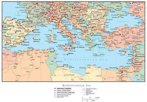 Mediterranean Map with Countries, Capitals, Cities, Roads and Water Features