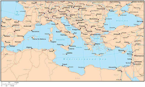 Single Color Mediterranean Map with Countries, Capitals, Major Cities and Water Features
