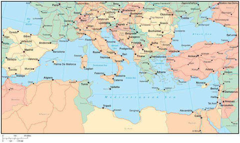 Multi Color Mediterranean Map with Countries, Capitals, Major Cities and Water Features
