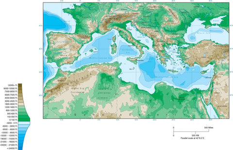 Digital Mediterranean Contour map in Adobe Illustrator vector format.