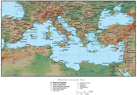 Mediterranean Map Plus Terrain with Countries, Capitals, Cities, Roads, and Water Features