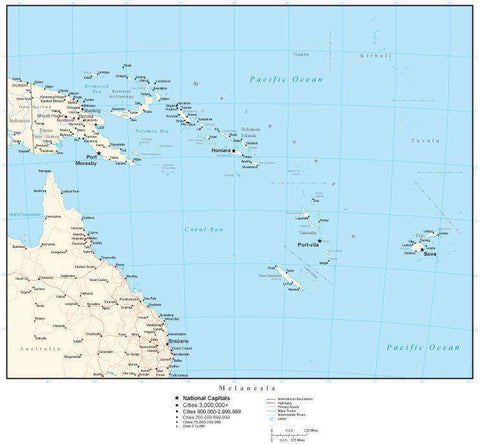 Melanesia Map with Country Boundaries, Capitals, Cities, Roads and Water Features