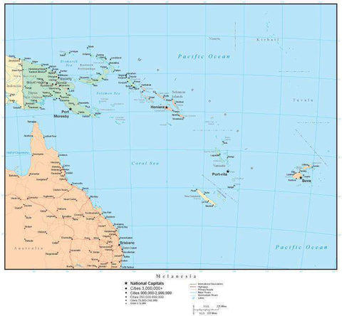Melanesia Map with Countries, Capitals, Cities, Roads and Water Features