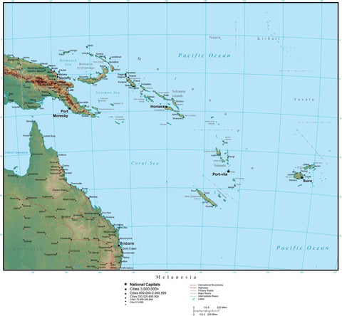 Melanesia Terrain map in Adobe Illustrator vector format with Photoshop terrain image MELANE-952789