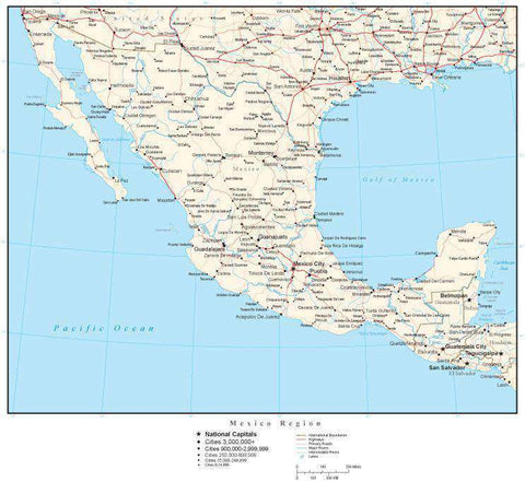 Mexico Region Map with Country Boundaries, Capitals, Cities, Roads and Water Features