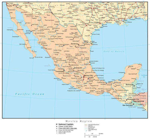 Mexico Region Map with Countries, Capitals, Cities, Roads and Water Features