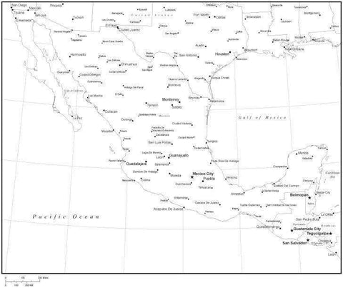 Black & White Mexico Map with Countries, Capitals and Major Cities - MEX-XX-533886