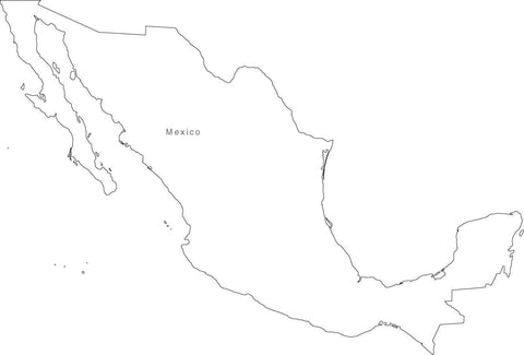 Digital Black & White Mexico map in Adobe Illustrator EPS vector format