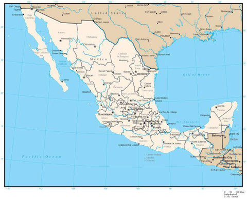 Mexico Map with State Areas and Capitals
