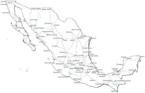 Mexico Black & White Map with Capital, Major Cities, Roads, and Water Features
