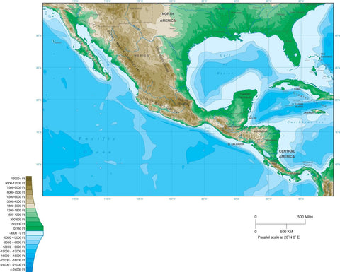 Digital Mexico Contour map in Adobe Illustrator vector format.