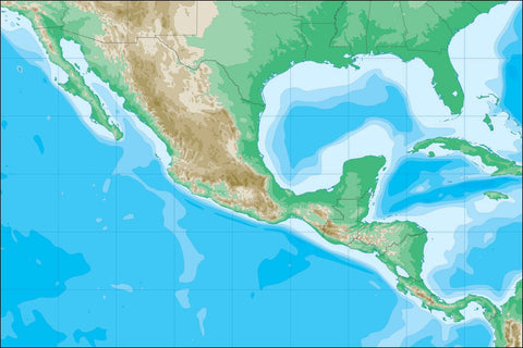 Digital Mexico Contour Contour map in Adobe Illustrator vector format