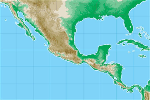 Mexico Map with Land Contours