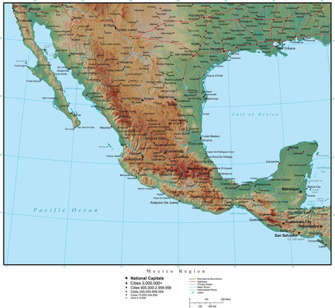 Mexico Region Terrain map in Adobe Illustrator vector format with Photoshop terrain image MEX-XX-952858