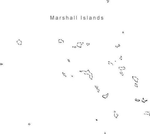 Digital Black & White Marshall Islands map in Adobe Illustrator EPS vector format