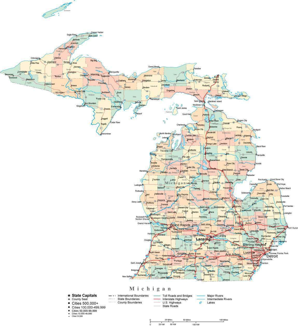 Michigan Digital Vector Map with Counties, Major Cities, Roads ...