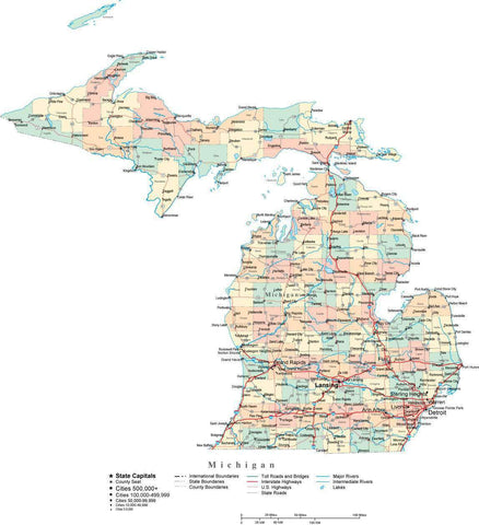 Michigan State Map - Multi-Color Cut-Out Style - with Counties, Cities, County Seats, Major Roads, Rivers and Lakes