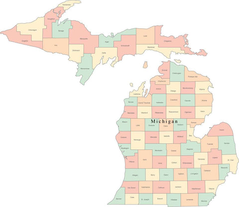 Multi Color Michigan Map with Counties and County Names