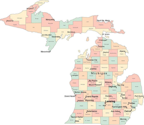 Multi Color Michigan Map with Counties, Capitals, and Major Cities