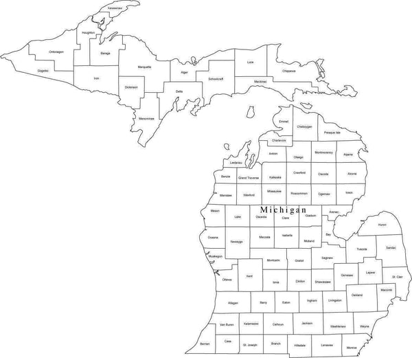 Black & White Michigan Digital Map with Counties