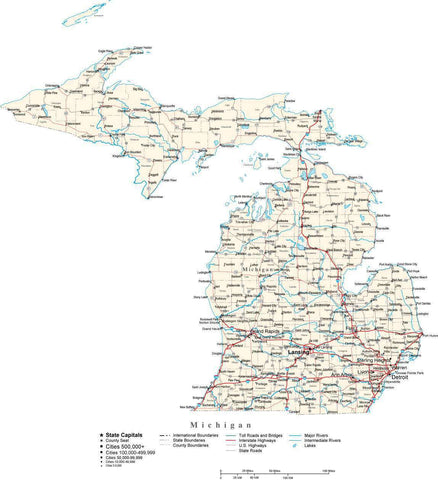 Michigan Map - Cut Out Style - with Capital, County Boundaries, Cities, Roads, and Water Features