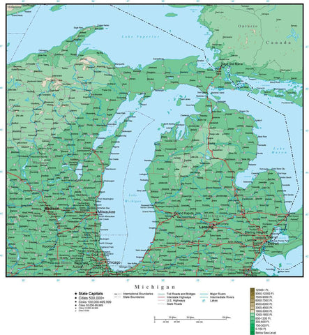 Michigan Map with Contour Background