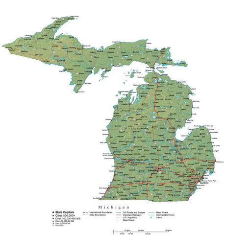 Digital Michigan State Illustrator cut-out style vector with Terrain MI-USA-241994