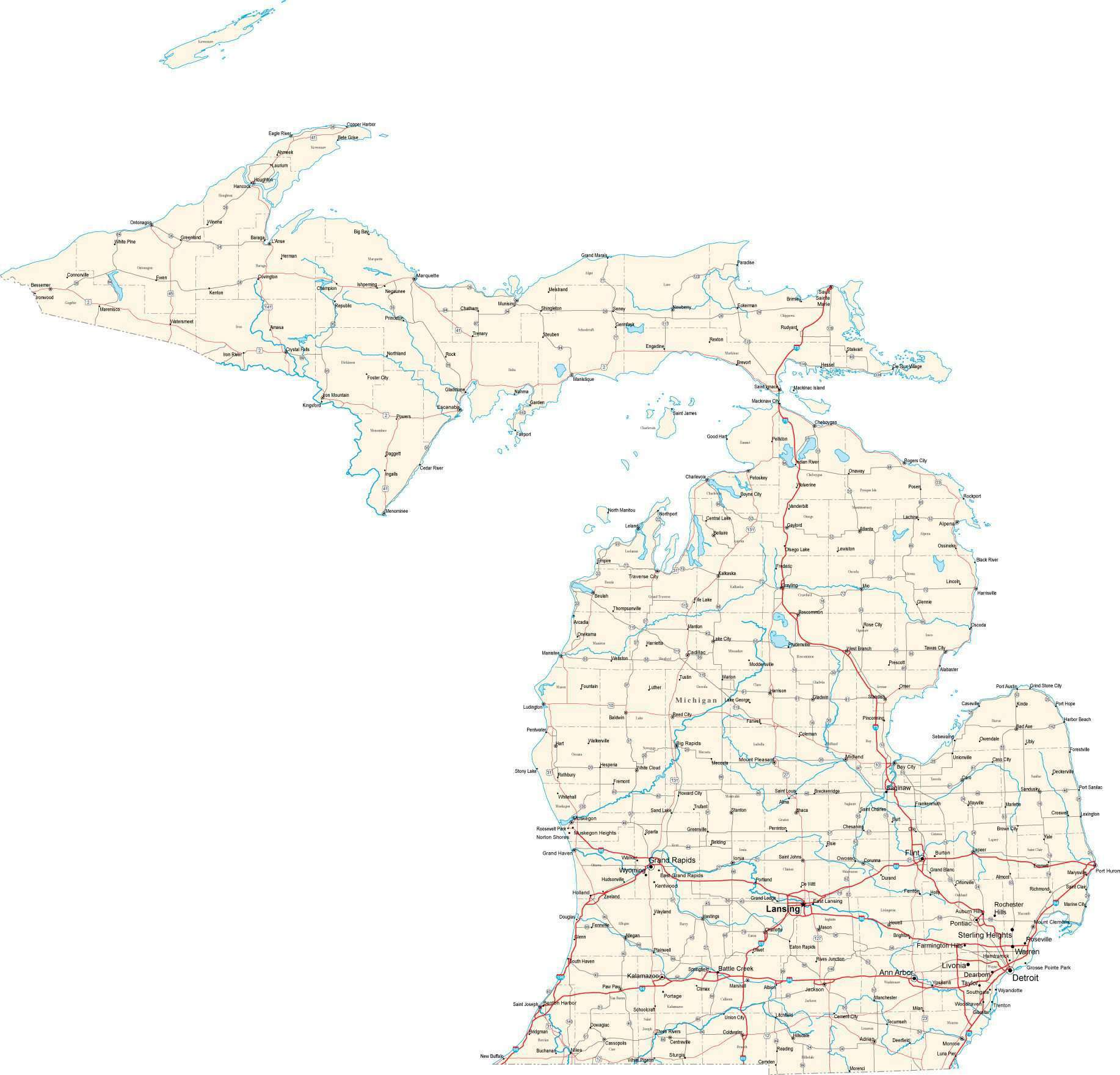 Michigan Ipl Stately Knowledge Facts About The United States - Michigan us map