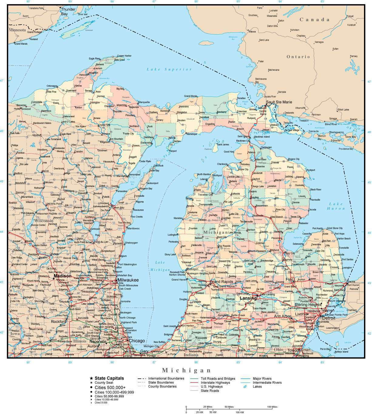 Michigan Map With Cities And Lakes.Michigan Adobe Illustrator Map With Counties Cities County Seats