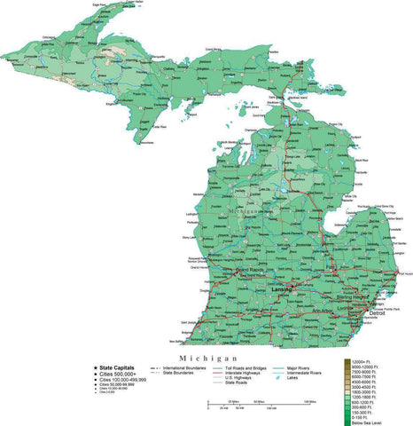 Michigan Map  with Contour Background - Cut Out Style