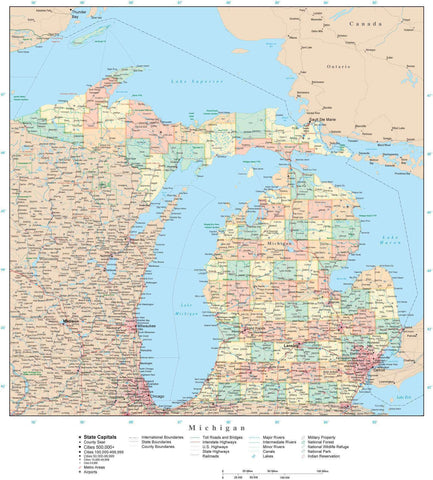 Poster Size Michigan Map with Counties, Cities, Highways, Railroads, Airports, National Parks and more